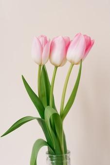 Een boeket van drie roze tulpen. het concept van het lentefeest, moederdag, valentijnsdag, verjaardag