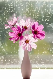 Een boeket van zomer kosmos bloemen in een vaas