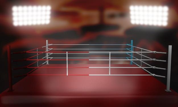 Een boksring omringd door touwen, belicht door schijnwerpers in een arena-instelling 's nachts 3d render