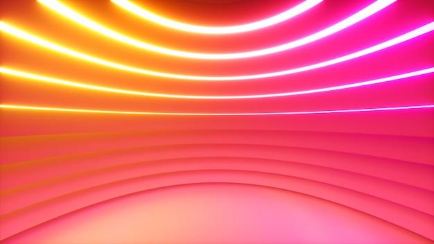 Een bolvormige kamer met felle neonverlichting met een offset-effect. business achtergrond. 3d-afbeelding