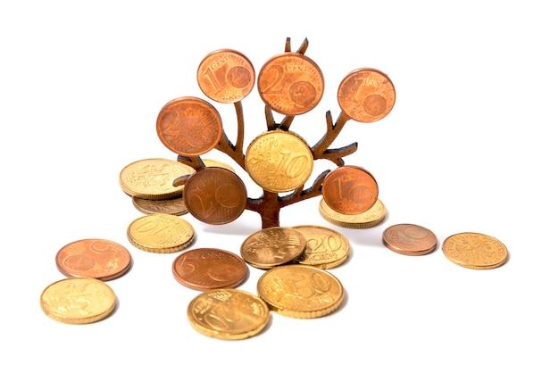 Een boom groeit met munten op zijn takken op een witte achtergrond