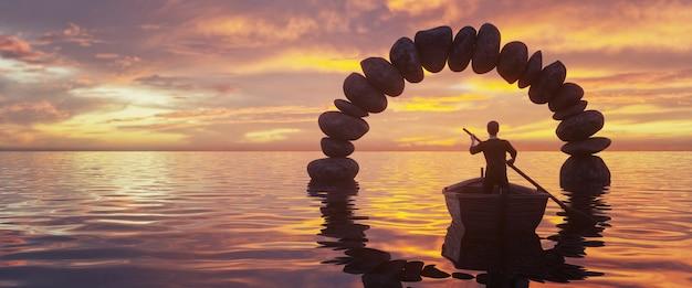 Een boot die door een stenen boog in het midden van de zee vaart, prachtige zonsondergang op de achtergrond, 3d rendring
