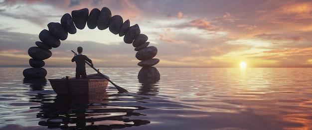 Een boot met een man die door een stenen boog in het midden van de zee, prachtige zonsondergang op de achtergrond, 3d-ontmoeting