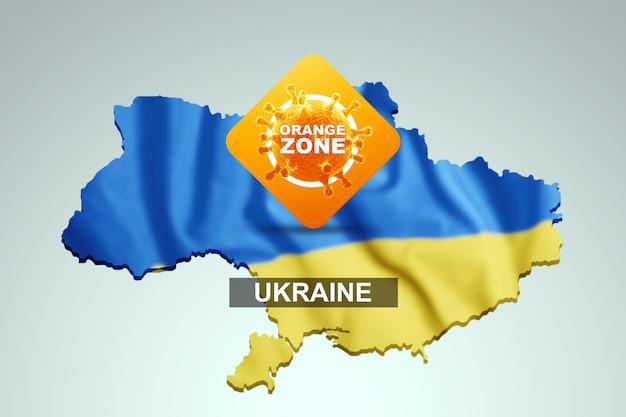 Een bord met de inscriptie oranje zone op de achtergrond van een kaart van oekraïne met de oekraïense vlag. oranje gevarenniveau, coronavirus, lockdown, quarantaine, virus. 3d render, 3d illustratie.