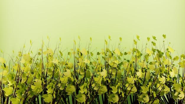 Een bos boom decoratie met groene bladeren op groene achtergrond muur