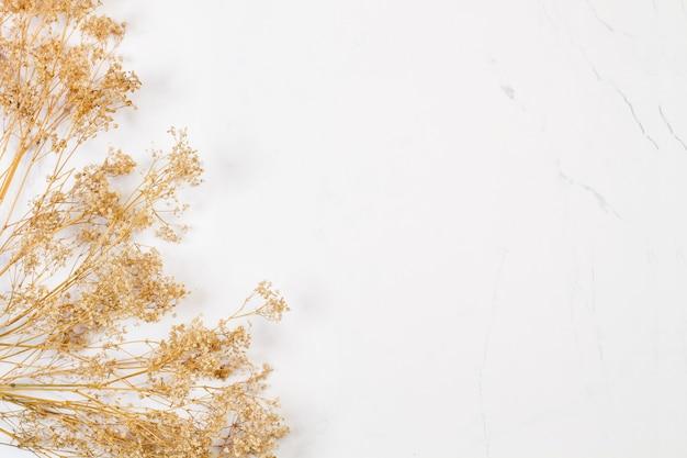 Een bos van gedroogde gipskruid op een marmeren achtergrond