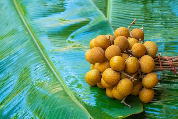 Een bos van longan takken van groene bananenblad. vitaminen, fruit, gezond voedsel