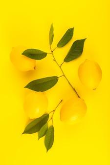 Een bovenaanzicht gele citroenen vers rijp met groene bladeren geïsoleerd op de gele achtergrond citrusvruchten kleur