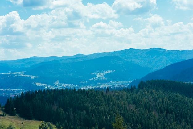 Een bovenaanzicht van groene naaldbossen over de berg