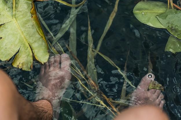 Een bovenaanzicht van iemands voeten onder de vijver