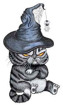 Een boze demonische kat zit en draagt een oude heksenhoed met een web en een spinnenwaterverf