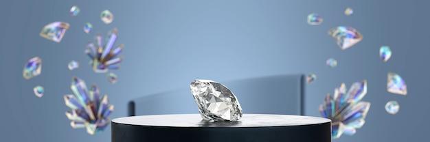 Een briljante diamant op het podium geplaatst met kristal softfocus achtergrond 3d-rendering