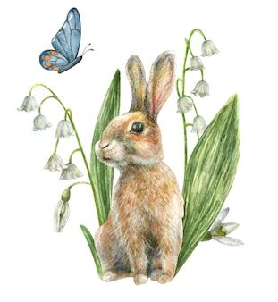 Een bruin konijn zit tussen de witte lentebloemen en grassen lelietje-van-dalen sneeuwklokje een blauwe vlinder vliegt boven hem met de hand getekend