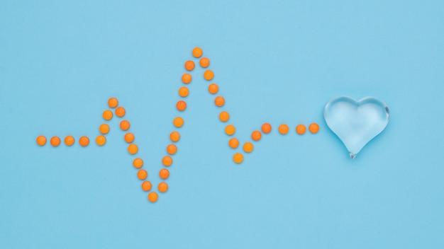 Een cardiogram van pillen die op een glazen hart rusten. het concept van de behandeling van hartaandoeningen. plat leggen.
