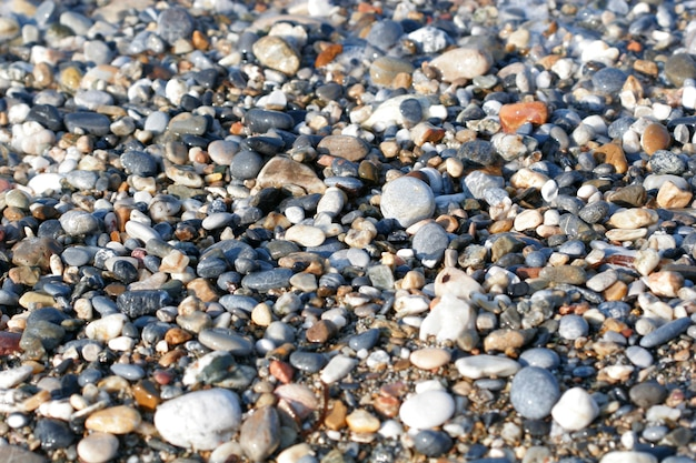 Een close-up van gladde gepolijste veelkleurige stenen die op het strand zijn aangespoeld.