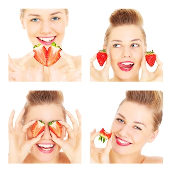 Een collage van een jonge gelukkige vrouw die zich voordeed met aardbeien op een witte achtergrond