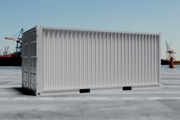Een container op dok - 3d-rendering