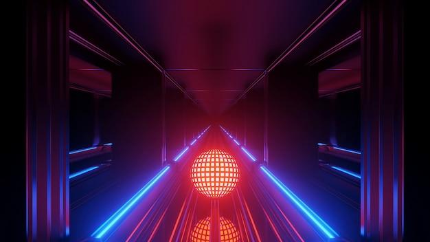 Een coole ronde futuristische sci-fi techno-verlichting
