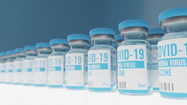 Een coronavirus- of covid-19-vaccinfles op een tafel in het laboratorium