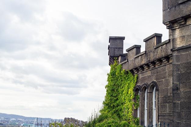 Een deel van de muur van het kasteel in edinburgh, schotland