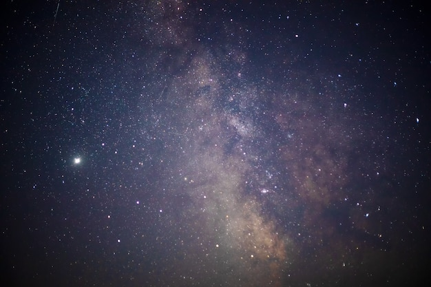 Een deel van het melkwegstelsel aan de nachtelijke hemel. landschap van de sterrenhemel.