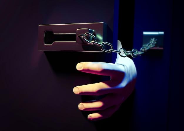 Een deur binnengaan met ketting 's nachts. 3d illustratie