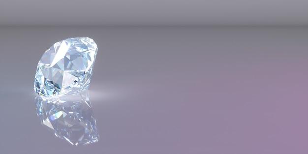 Een diamant aan de linkerkant van het frame op een donkere achtergrond, 3d illustratie