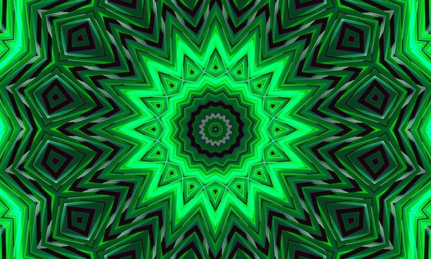 Een donkere achtergrond met een gloeiend groen ornament in de vorm van een gestileerde bloem. caleidoscooppatroon voor ontwerp.