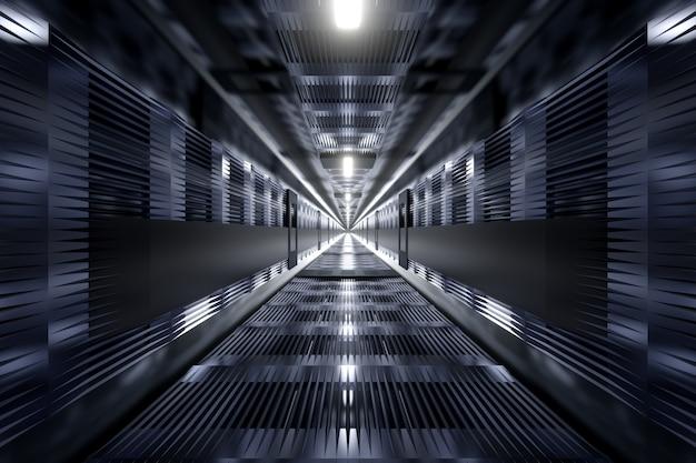Een donkere industriële tunnel