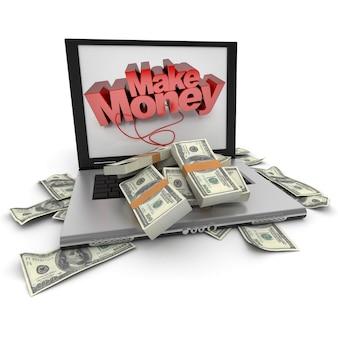 Een draagbare computer met geld op het scherm geschreven, met de toetsenbordcover in honderd dollarbiljetten