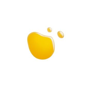 Een druppel honing of olie op een witte geïsoleerde achtergrond. conceptsmeermiddel, motorolie, gemorste honing of vloeistof. plat lag, bovenaanzicht