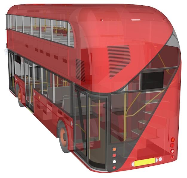 Een dubbeldekkerbus, een doorschijnende behuizing waaronder veel interieurelementen en interne busdelen zichtbaar zijn. 3d-rendering.