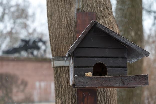 Een duivenvoederbak in de vorm van een houten huis hangt in de winter aan een boom.