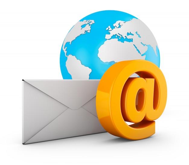 Een e-mailteken, een envelop en een wereldbol. 3d-rendering.