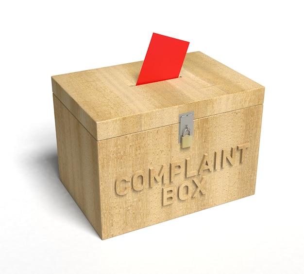 Een echte houten klachtenbox. 3d-rendering