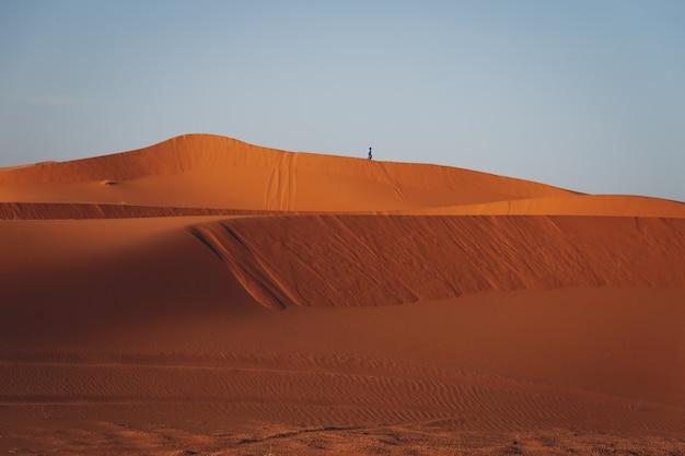 Een eenzame persoon die in een duin van de woestijn in een blauw vest loopt