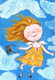Een engelenmeisje met kleine vleugels vliegt in de wolken ze heeft blond haar, gele zomerjurk en een handtas