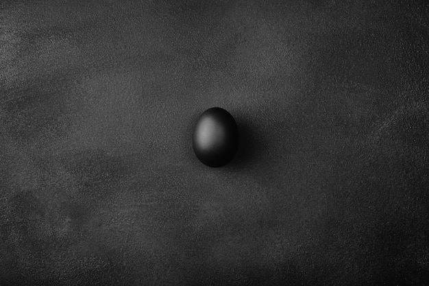 Een enkel zwart ei bovenaanzicht