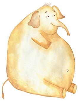 Een enorme dikke gele olifant zit en glimlacht geïsoleerd op een witte achtergrond comic olifant