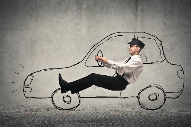 Een fictieve auto besturen