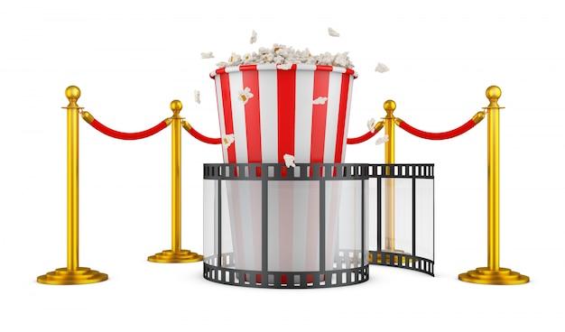 Een film en popcorn op een achtergrond van pilaren met een rood touw. 3d-rendering.