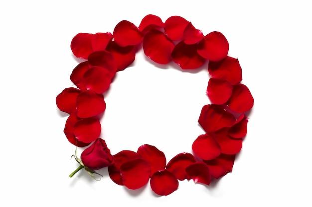 Een frame van rode rozenblaadjes bloem samenstelling wenskaart mockup met bloemen