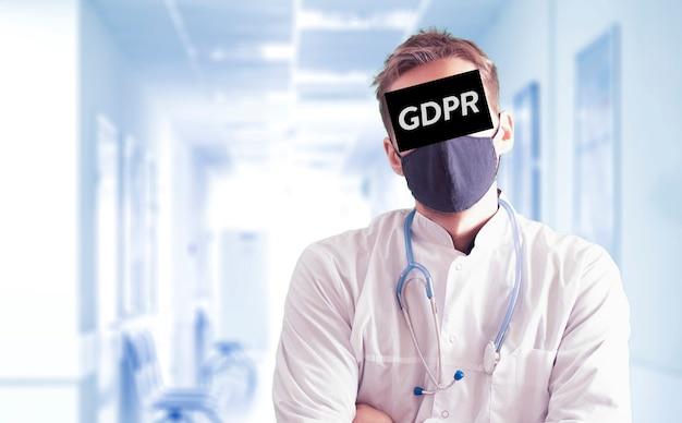 Een gdpr-persoon met frame op het gezicht, concept van persoonlijke informatieprivacy