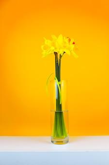 Een geel boeket bloemen in een glazen vaas staat op een tafel op een gele achtergrond, verticale foto