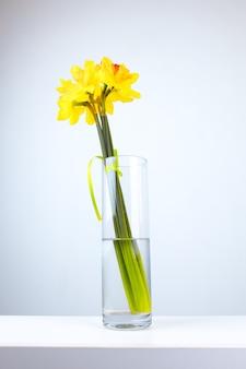 Een geel boeket bloemen in een glazen vaas staat op een tafel op een witte achtergrond