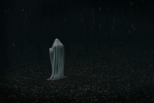 Een geest in een donker bos