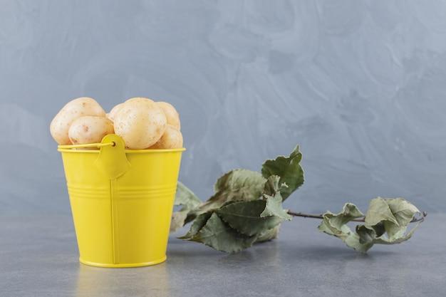 Een gele emmer vol ongekookte aardappelen.