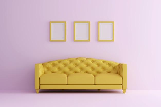 Een gele sofa in roze woonkamer met fotolijst. minimaal stijlconcept.
