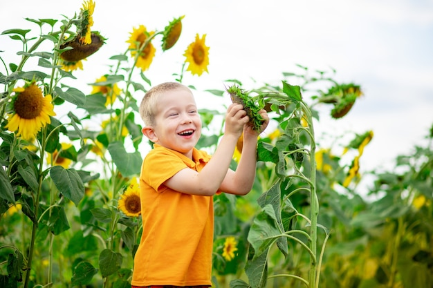 Een gelukkige jongen staat in een veld met zonnebloemen