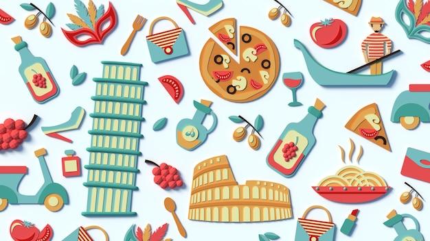 Een gestileerde compilatie van de bezienswaardigheden van italië. voedsel en gebouwen van rome. 3d-pictogrammen en flatley